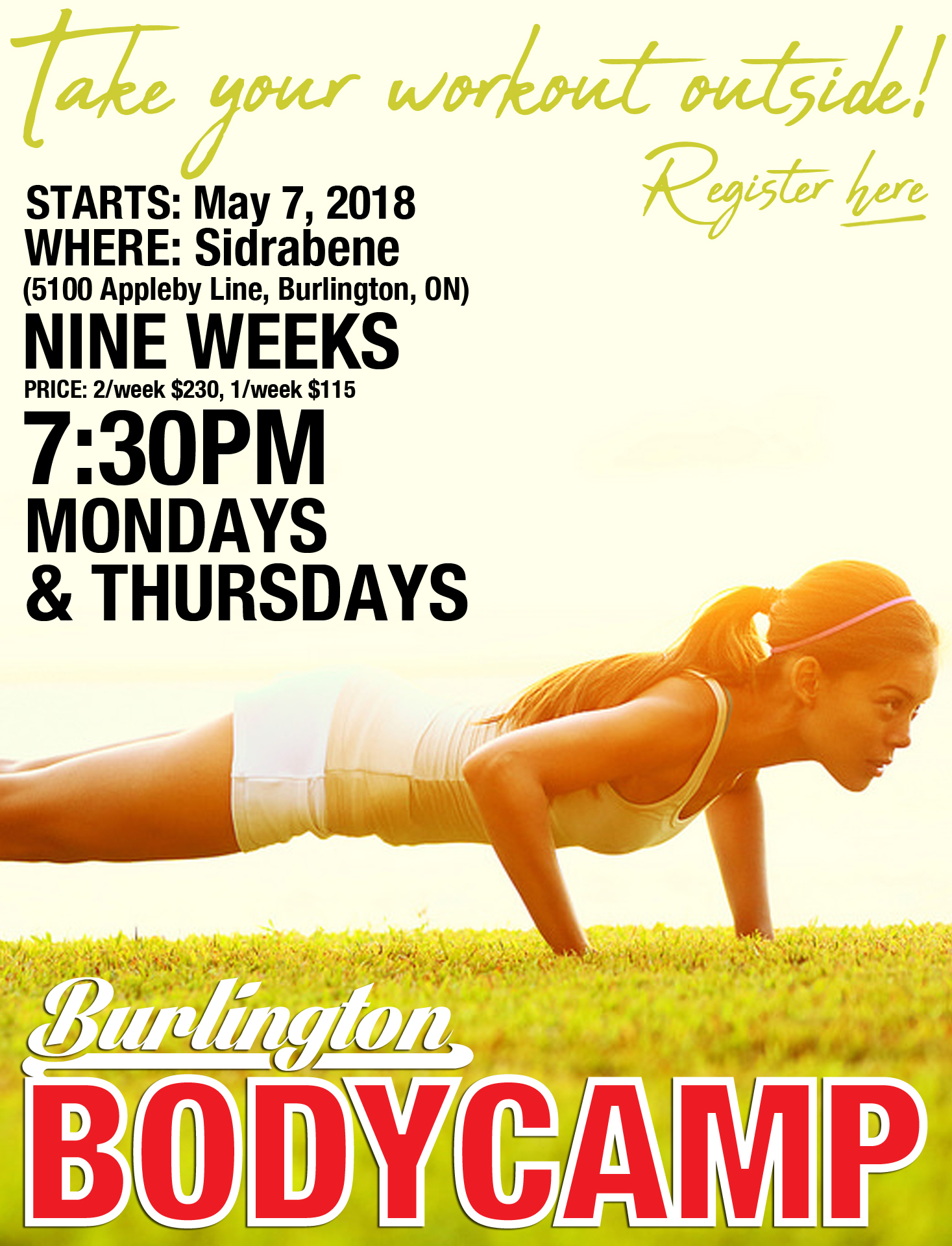 Outdoor Boot Camp in Burlington, Starts May 7 2018